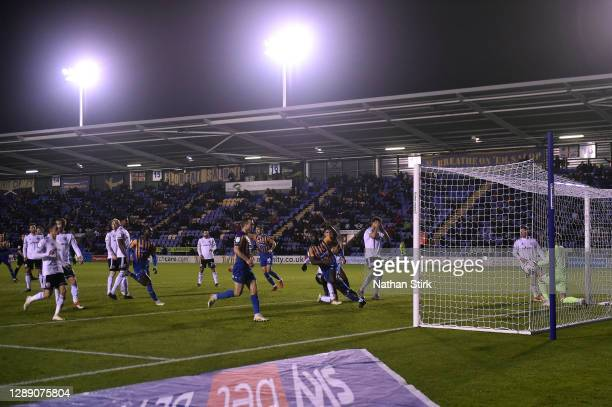 Aaron Pierre of Shrewsbury Town celebrates scoring their team's first goal during the Sky Bet League One match between Shrewsbury Town and Accrington...