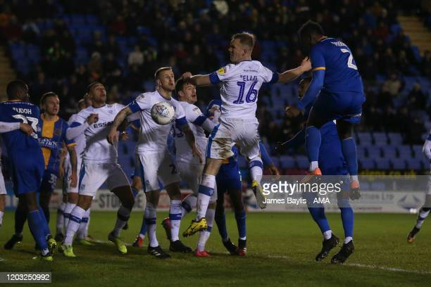 Aaron Pierre of Shrewsbury Town scores a goal to make it 12 during the Sky Bet League One match between Shrewsbury Town and Tranmere Rovers at...