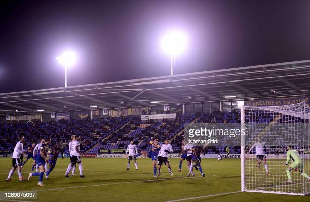 Aaron Pierre of Shrewsbury Town scores their team's first goal during the Sky Bet League One match between Shrewsbury Town and Accrington Stanley at...