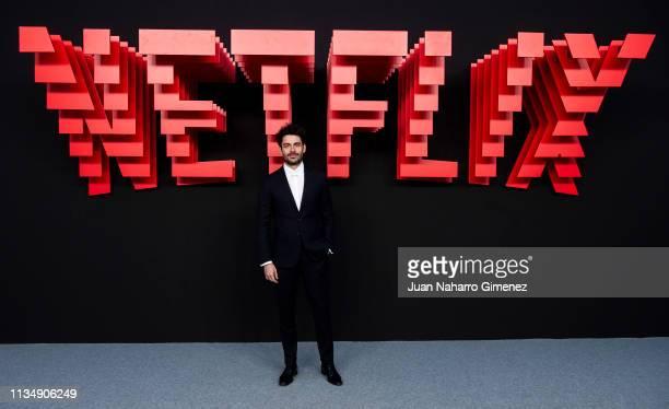 Aaron Piper attends the red carpet during the Netflix presentation party at the Invernadero del Palacio de Cristal de la Arganzuela on April 4 2019...