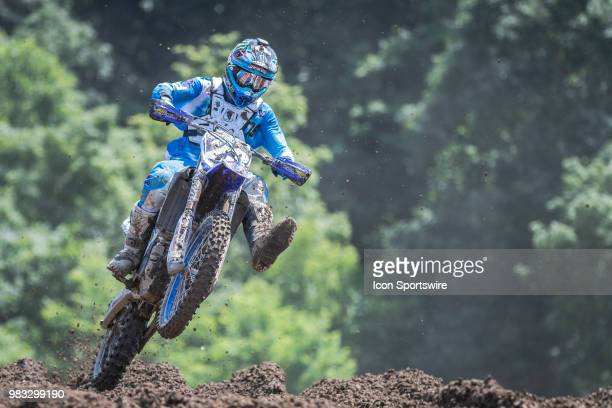 Aaron Plessinger flies around a corner on his Yamaha YZ 250F during the Lucas Oil Pro Motocross High Point National race on June 16 2018 at High...