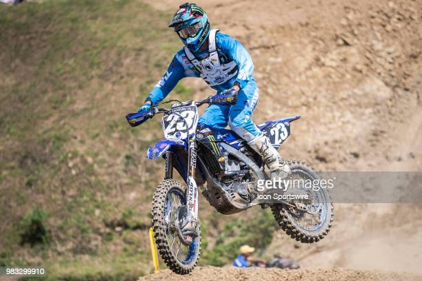 Aaron Plessinger flies uphill on his Yamaha YZ 250F during the Lucas Oil Pro Motocross High Point National race on June 16 2018 at High Point Raceway...