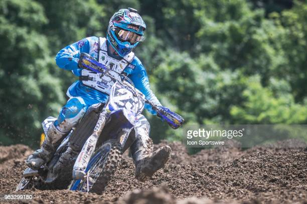 Aaron Plessinger races around a corner on his Yamaha YZ 250F during the Lucas Oil Pro Motocross High Point National race on June 16 2018 at High...