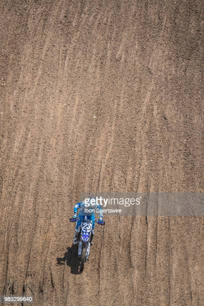 Aaron Plessinger races below on his Yamaha YZ 250F during the Lucas Oil Pro Motocross High Point National race on June 16 2018 at High Point Raceway...