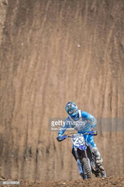 Aaron Plessinger races uphill on his Yamaha YZ 250F during the Lucas Oil Pro Motocross High Point National race on June 16 2018 at High Point Raceway...