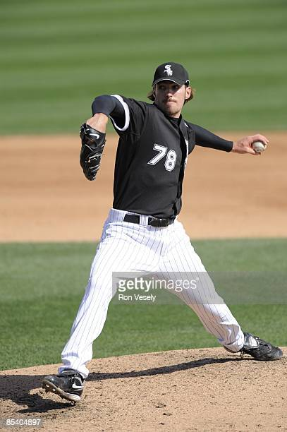 Aaron Poreda of the Chicago White Sox pitches against the Cleveland Indians on March 9 2009 at The Ballpark at Camelback Ranch in Glendale Arizona
