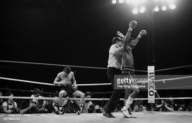 Aaron Pryor celebrates after knocking down Alexis Arguello during the bout at the Orange Bowl on November 12 1982 in Miami Florida Aaron Pryor won...