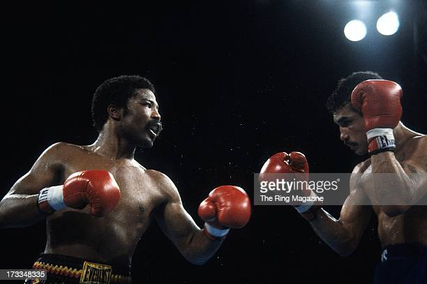 Aaron Pryor looks to throw a punch against Alexis Arguello during the fight at the Orange Bowl in Miami Florida Aaron Pryor won the WBA World light...