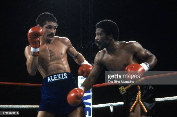 Aaron Pryor throws a punch against Alexis Arguello during the fight at the Orange Bowl in Miami Florida Aaron Pryor won the WBA World light...