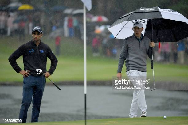R Aaron Rai of England and Matthew Fitzpatrick of England during the final round of the HONMA Hong Kong Open presented by Amundi at Hong Kong Golf...