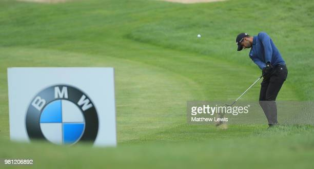 Aaron Rai of England chips onto the 12th green during day two of the BMW International Open at Golf Club Gut Larchenhof on June 22 2018 in Cologne...