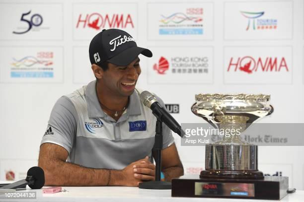 Aaron Rai of England during the press conference after winning the Honma Hong Kong Open at The Hong Kong Golf Club on November 25 2018 in Hong Kong...