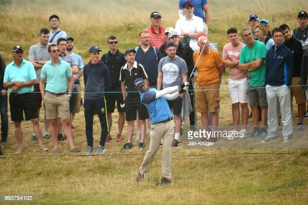Aaron Rai of England hits an approach shot during the final round of the Dubai Duty Free Irish Open at Ballyliffin Golf Club on July 8 2018 in...