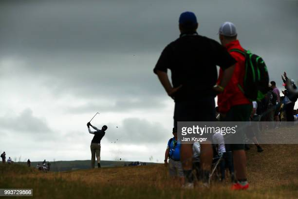 Aaron Rai of England hits his second shot on the 3rd hole during the final round of the Dubai Duty Free Irish Open at Ballyliffin Golf Club on July 8...