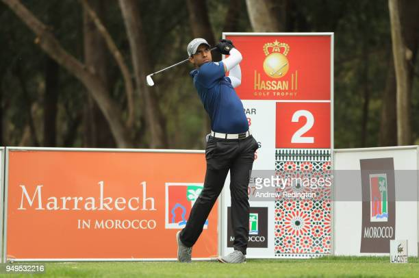 Aaron Rai of England in acrtion during the third round of the Trophee Hassan II at Royal Golf Dar Es Salam on April 21 2018 in Rabat Morocco