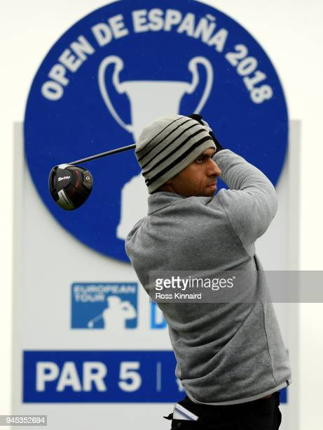 Aaron Rai of England in action during the first round of the Open de Espana at Centro Nacional de Golf on April 12 2018 in Madrid Spain