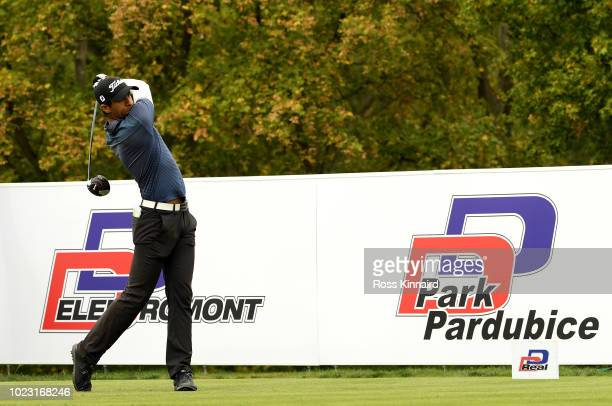Aaron Rai of England in action during the third round of the DD REAL Czech Masters at Albatross Golf Resort on August 25 2018 in Prague Czech Republic