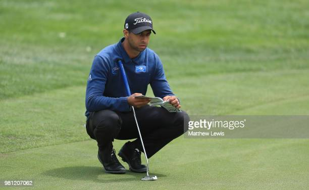 Aaron Rai of England lines up a putt onthe 12th green during day two of the BMW International Open at Golf Club Gut Larchenhof on June 22 2018 in...