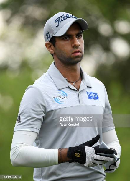 Aaron Rai of England looks on at the 17th tee during Day Two of DD REAL Czech Masters at Albatross Golf Resort on August 24 2018 in Prague Czech...