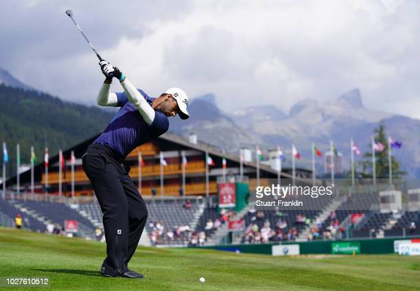 Aaron Rai of England plays a shot during the first round of the Omega European Masters at CranssurSierre Golf Club on September 6 2018 in...