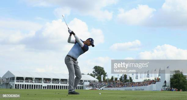 Aaron Rai of England plays his second shot from the 18th fairway during day three of the BMW International Open at Golf Club Gut Larchenhof on June...