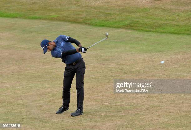Aaron Rai of England plays his second shot to the 1st hole during the Open Qualifying Series as part of the Aberdeen Standard Investments Scottish...
