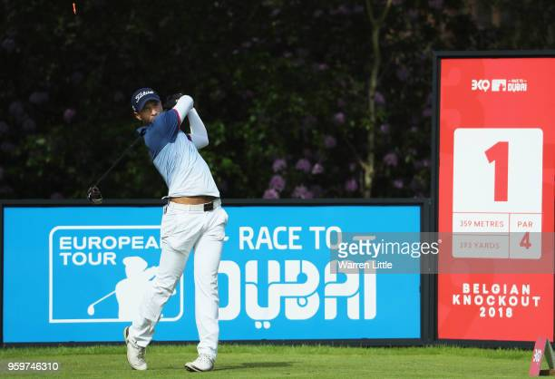 Aaron Rai of England plays his shot off the 1st tee during the second round of the Belgian Knockout at at the Rinkven International Golf Clubon May...