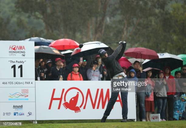 Aaron Rai of England plays his tee shot on the 11th hole during day four of the Honma Hong Kong Open at The Hong Kong Golf Club on November 25 2018...