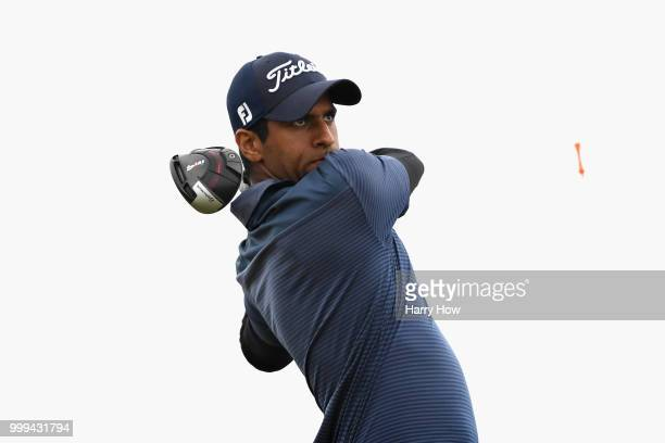 Aaron Rai of England takes his tee shot on hole two during day four of the Aberdeen Standard Investments Scottish Open at Gullane Golf Course on July...