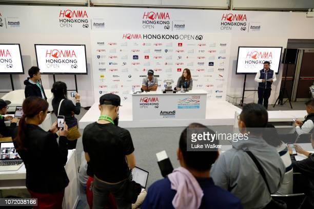 Aaron Rai of England talks to the media during day four of the Honma Hong Kong Open at The Hong Kong Golf Club on November 25 2018 in Hong Kong Hong...