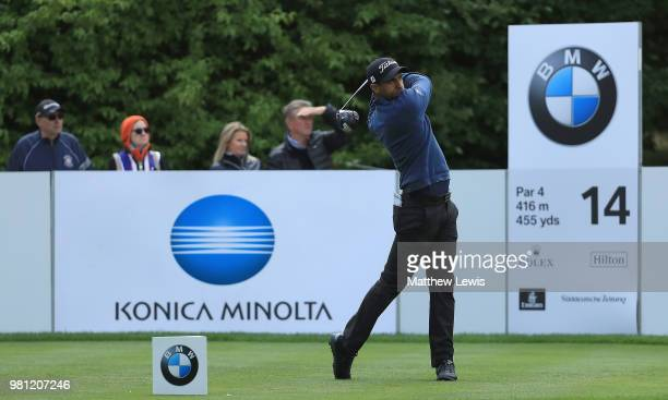Aaron Rai of England tees off on the 14th hole during day two of the BMW International Open at Golf Club Gut Larchenhof on June 22 2018 in Cologne...