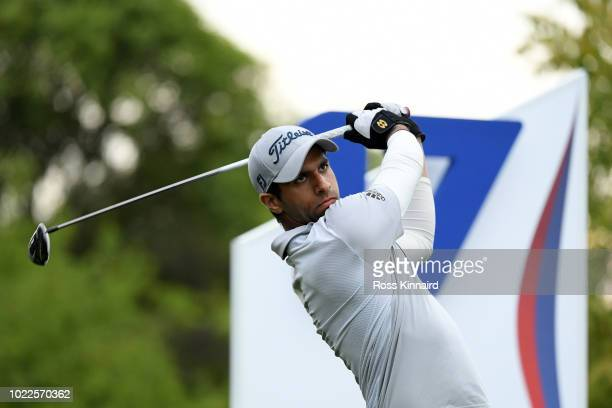 Aaron Rai of England tees off on the 17th hole during Day Two of DD REAL Czech Masters at Albatross Golf Resort on August 24 2018 in Prague Czech...