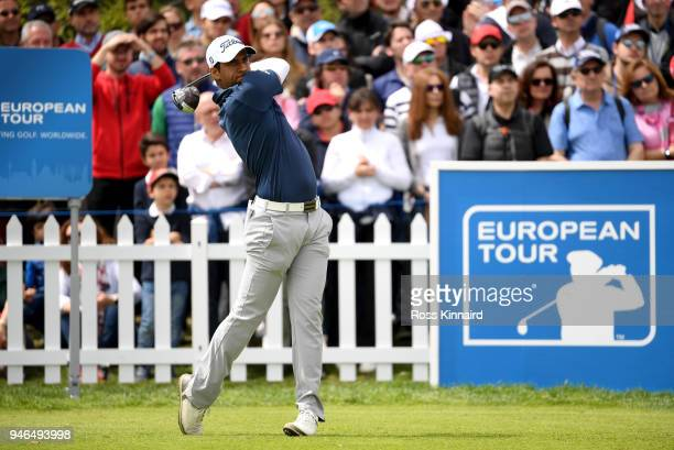 Aaron Rai of England tees off on the 1st hole during Day Four of the Open de Espana at Centro Nacional de Golf on April 15 2018 in Madrid Spain