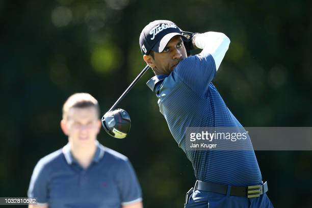 Aaron Rai of England tees off on the 5th hole during day one of the KLM Open at The Dutch on September 13 2018 in Spijk Netherlands
