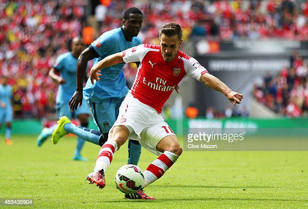 Aaron Ramey of Arsenal scores the second goal during the FA Community Shield match between Manchester City and Arsenal at Wembley Stadium on August...