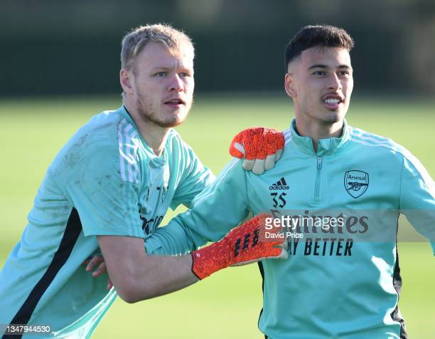 Aaron Ramsdale and Gabriel Martinelli of Arsenal during the Arsenal 1st team training session at London Colney on October 21, 2021 in St Albans,...
