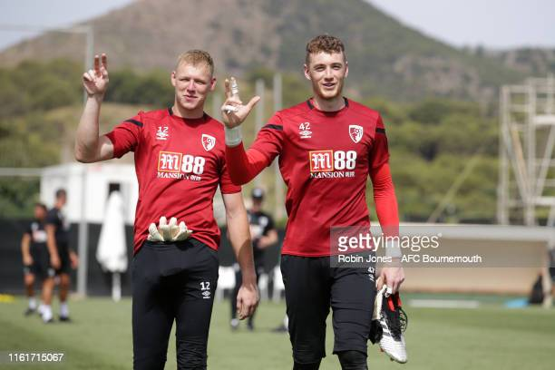 Aaron Ramsdale and Mark Travers of Bournemouth during a training session at La Manga Club on July 12 2019 in Cartagena Spain