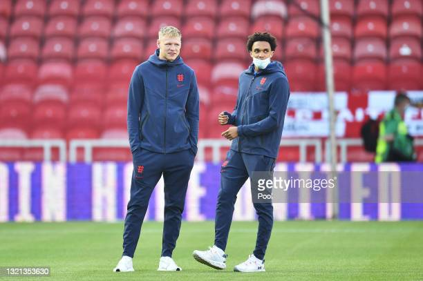 Aaron Ramsdale and Trent Alexander-Arnold of England inspect the pitch prior to the international friendly match between England and Austria at...