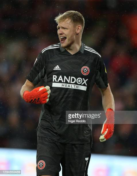 Aaron Ramsdale during the Sky Bet Championship match between Sheffield United and Birmingham City at Bramall Lane on August 7, 2021 in Sheffield,...