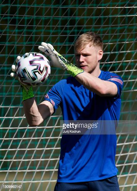 Aaron Ramsdale in action during an England Under-21 Training Session at NNC Brdo on March 30, 2021 in Kranj, Slovenia.