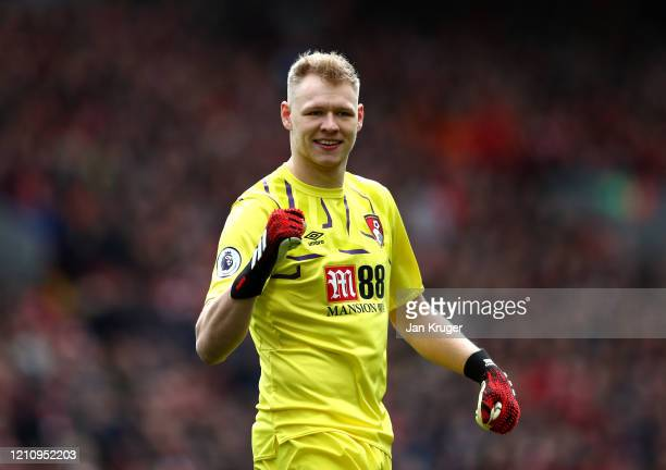 Aaron Ramsdale of AFC Bournemouth celebrates his sides first goal during the Premier League match between Liverpool FC and AFC Bournemouth at Anfield...