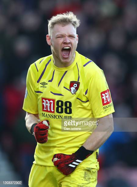 Aaron Ramsdale of AFC Bournemouth celebrates his sides second goal during the Premier League match between AFC Bournemouth and Aston Villa at...