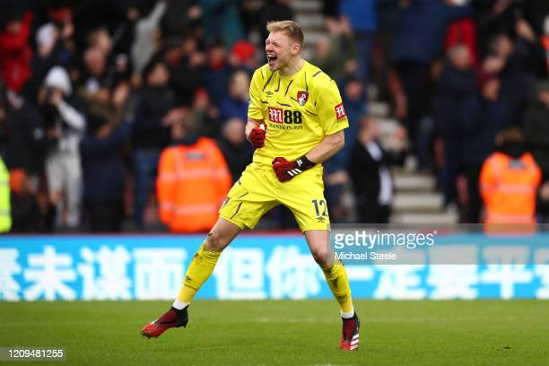 Aaron Ramsdale of AFC Bournemouth celebrates his sides second goal during the Premier League match between AFC Bournemouth and Chelsea FC at Vitality...