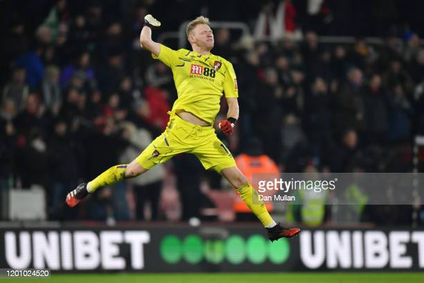 Aaron Ramsdale of AFC Bournemouth celebrates his sides third goal during the Premier League match between AFC Bournemouth and Brighton & Hove Albion...