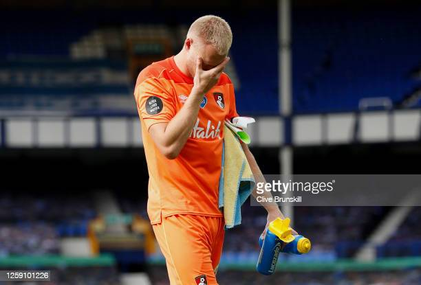 Aaron Ramsdale of AFC Bournemouth looks dejected at full-time after AFC Bournemouth are relegated from the Premier League after the Premier League...