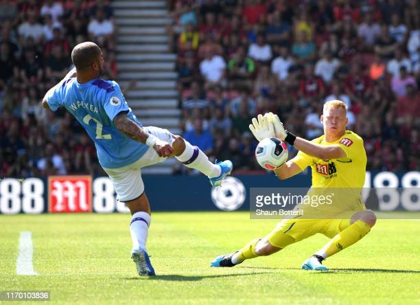 Aaron Ramsdale of AFC Bournemouth makes a save from Kyle Walker of Manchester City during the Premier League match between AFC Bournemouth and...