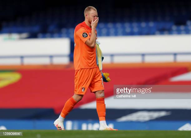 Aaron Ramsdale of AFC Bournemouth reacts at full-time after the Premier League match between Everton FC and AFC Bournemouth at Goodison Park on July...