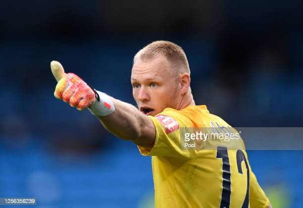 Aaron Ramsdale of AFC Bournemouth reacts during the Premier League match between Manchester City and AFC Bournemouth at Etihad Stadium on July 15,...
