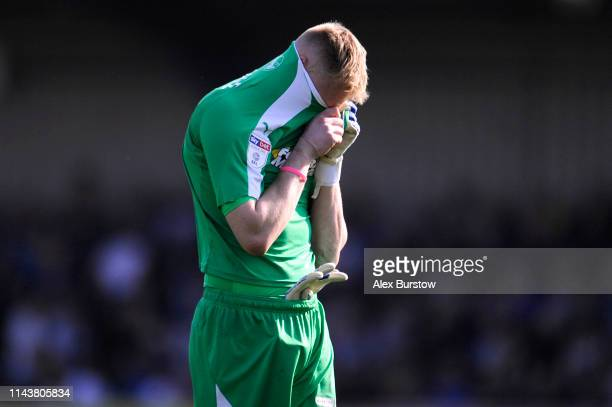 Aaron Ramsdale of AFC Wimbledon looks dejected after the Sky Bet League One match between AFC Wimbledon and Bristol Rovers at The Cherry Red Records...