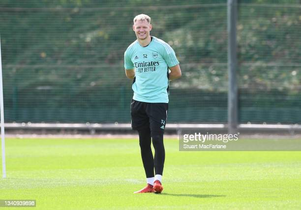 Aaron Ramsdale of Arsenal during a training session at London Colney on September 17, 2021 in St Albans, England.